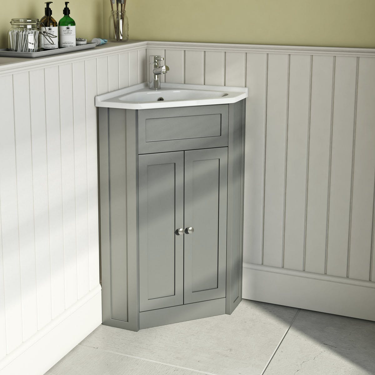The Bath Co Camberley Satin Grey Corner Floorstanding Vanity Unit And Ceramic Basin 580mm