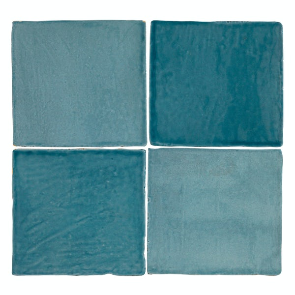 Marseille turquoise mix gloss wall tile 100mm x 100mm