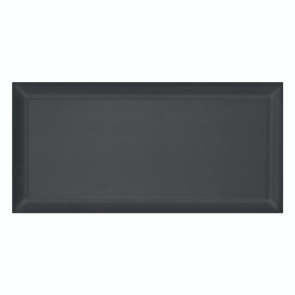 Deep Metro dark grey bevelled gloss wall tile 100mm x 200mm