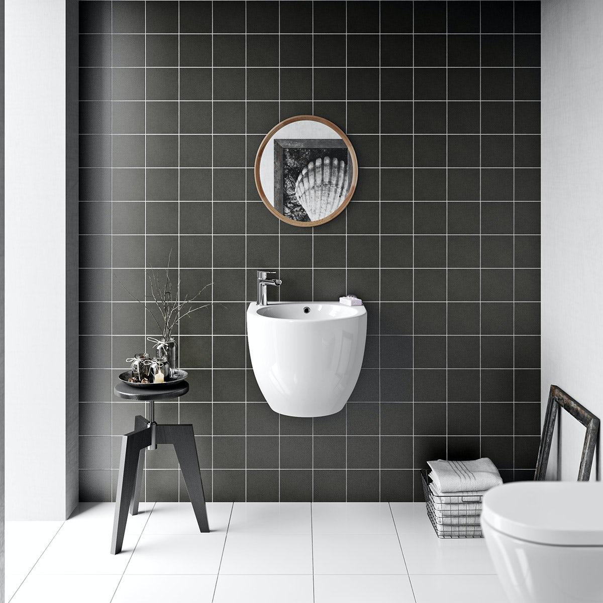 British Ceramic Tile Patchwork Plain Dark Grey Matt Tile