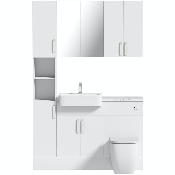 Mode Nouvel gloss white tall fitted furniture & storage combination with white marble worktop
