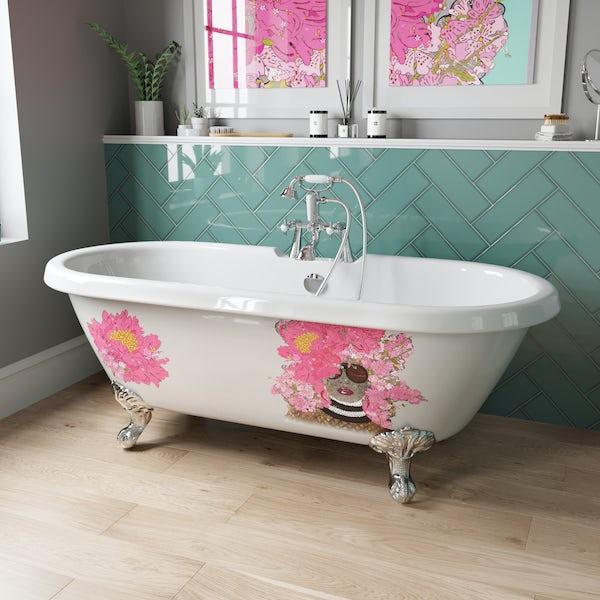 Louise Dear Kiss Kiss Bam Bam double ended traditional freestanding bath with chrome claw feet