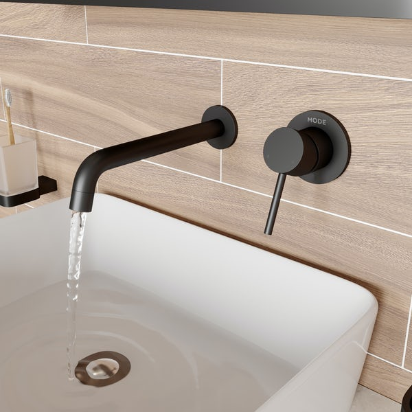 Mode Spencer round wall mounted black basin mixer tap