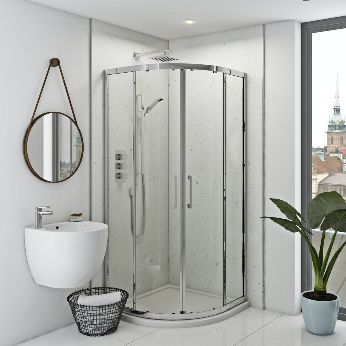 Multipanel Classic White Snow unlipped shower wall panel 2400 x 1200