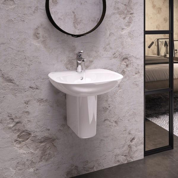 Ideal Standard Tesi 1 tap hole semi pedestal bathroom basin 600mm