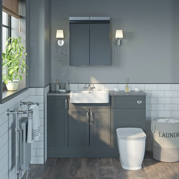 The Bath Co. Newbury dusk grey small fitted furniture & mirror combination with grey worktop