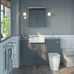 Main image for The Bath Co. Newbury dusk grey small fitted furniture & mirror combination with mineral grey worktop