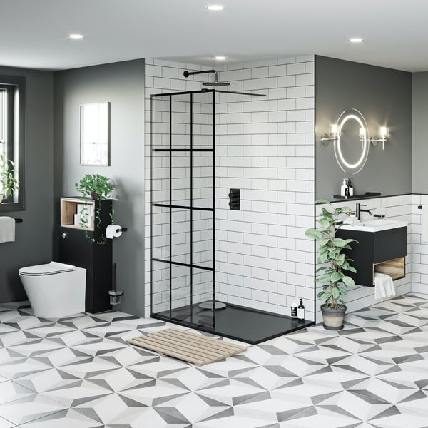 Mode 8mm black framed wet room panel with right handed 8mm black granite effect shower tray 1200 x 800