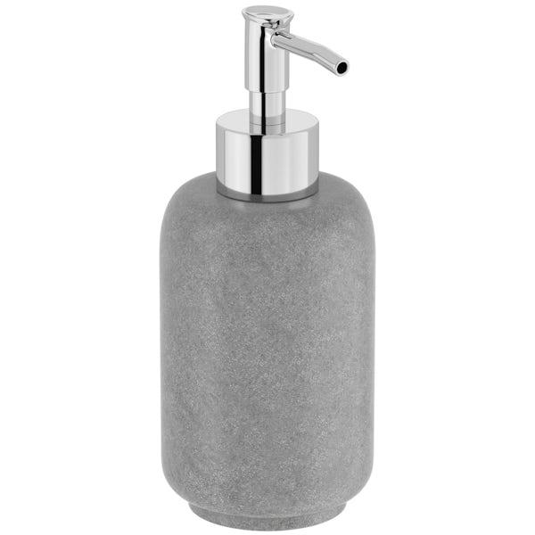 Mineral grey resin soap dispenser