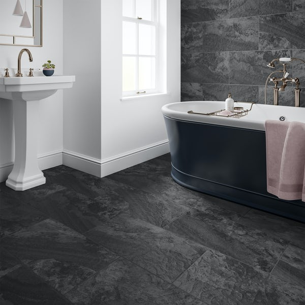 Meridien black stone effect matt wall and floor tile 308mm x 615mm
