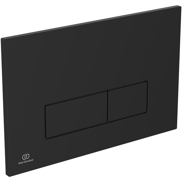 Ideal Standard silk black Oleas P2 flush plate with Prosys 150mm concealed cistern
