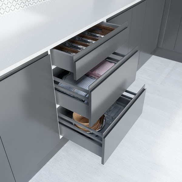 Schon Chicago mid grey handleless 3 drawer unit