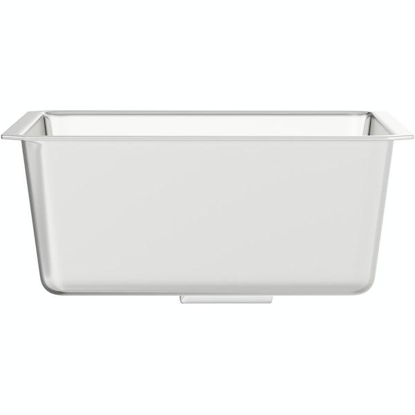 Rangemaster Atlantic Quad 1.0 bowl undermount kitchen sink with waste and Schon C spout WRAS kitchen tap