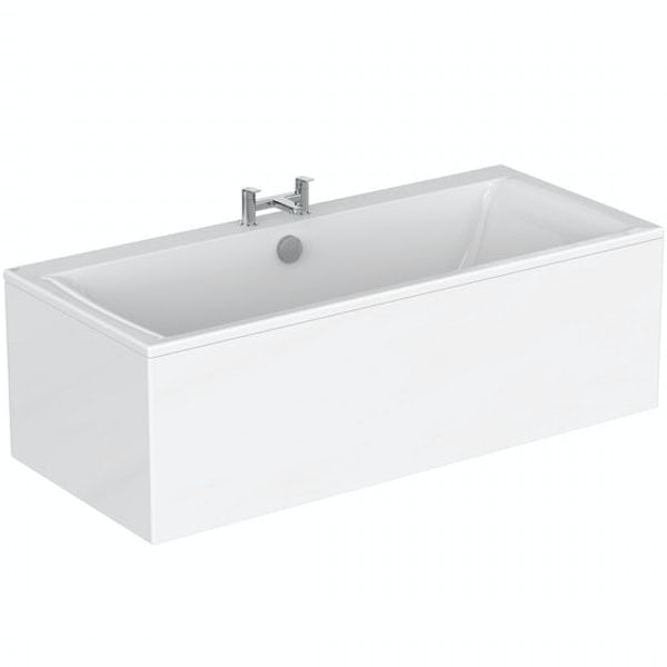 Ideal Standard Concept Air double ended rectangular straight bath and front panel 1700 x 750 with free bath waste