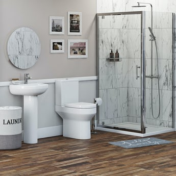 Orchard Wharfe bathroom suite with square enclosure and tray