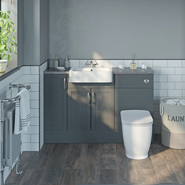 The Bath Co. Newbury dusk grey small fitted furniture combination with grey worktop
