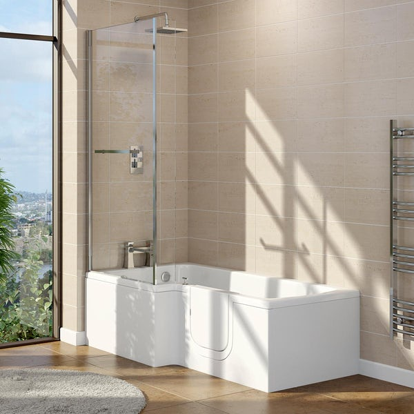 Orchard walk in L shaped shower bath with easy access right handed door and screen 1700 x 700