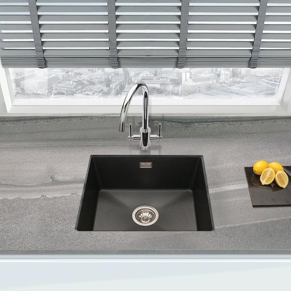 Schon Windermere universal undermount 1.0 deep bowl black granite kitchen sink with waste