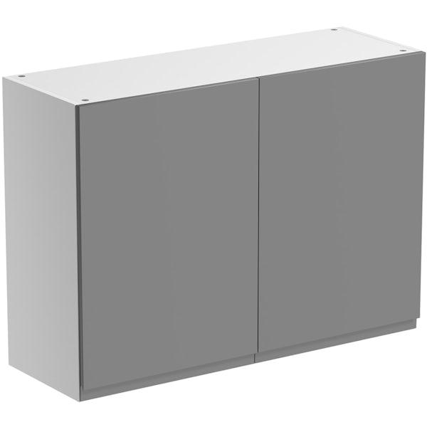 Schon Chicago mid grey handleless double door wall unit
