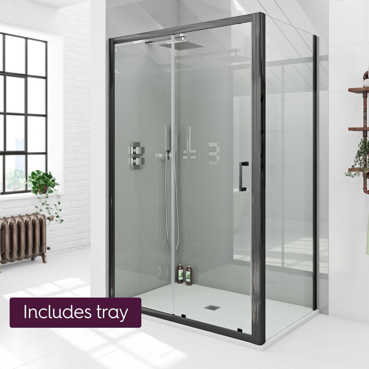 Mode Black 6mm Sliding Shower Enclosure With White Slate