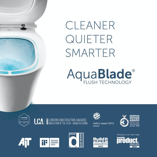 Ideal Standard Tesi back to wall toilet with Aquablade, soft close seat, concealed cistern and flush plate