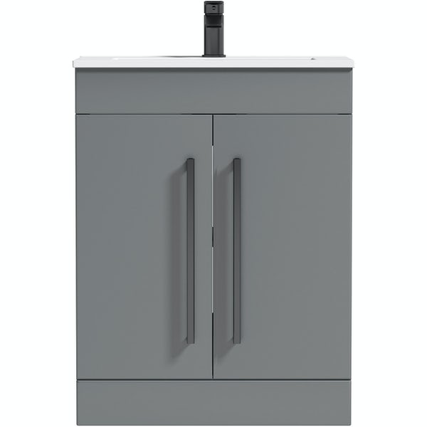 Orchard Derwent stone grey floorstanding vanity door unit with black handle and ceramic basin 600mm