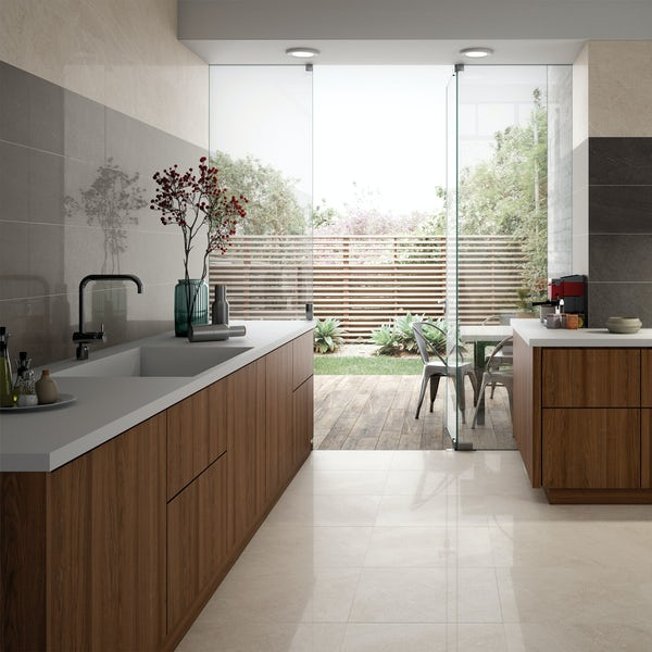 Alden lux grey stone effect gloss wall and floor tile 300mm x 600mm