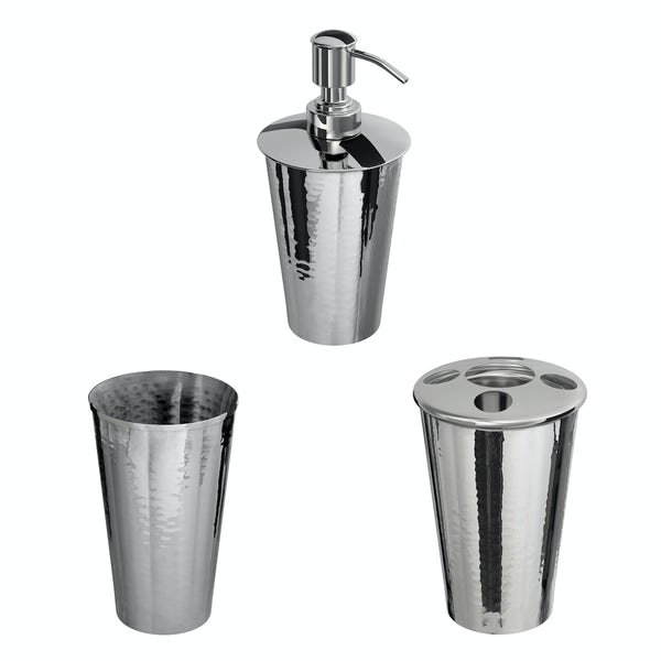Accents Hammered 3 piece nickel effect bathroom accessory set