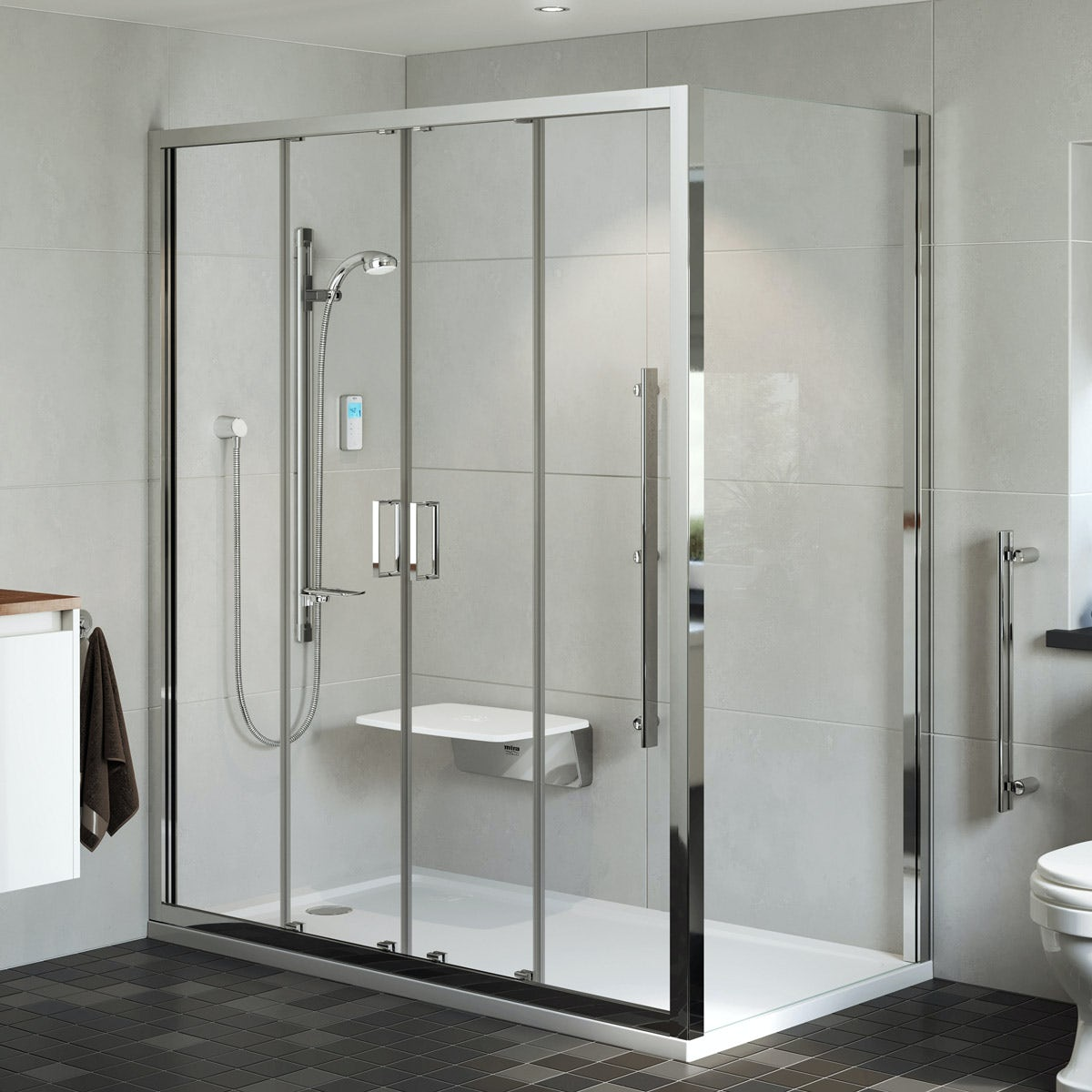 Mira Leap Double Sliding Shower Door 1700mm Victoriaplum Com