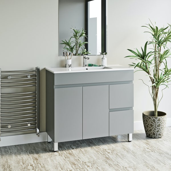 Orchard Thames satin grey floorstanding vanity unit and ceramic basin 915mm