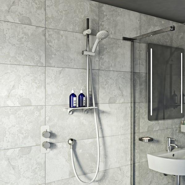 Orchard Pure sliding shower rail and shelf kit