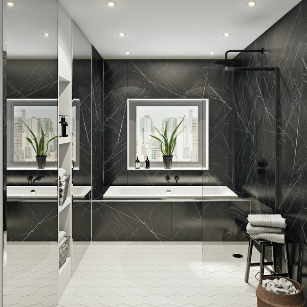 Multipanel Linda Barker Nero Grafite unlipped shower wall panel 2400 x 1200