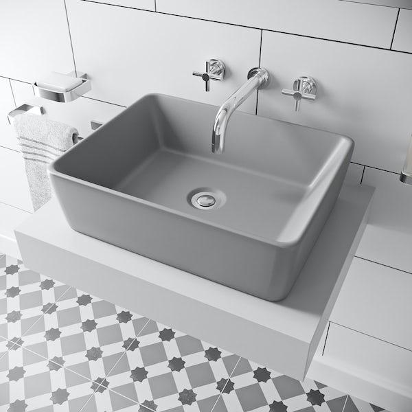 Mode Ellis grey coloured countertop basin 485mm