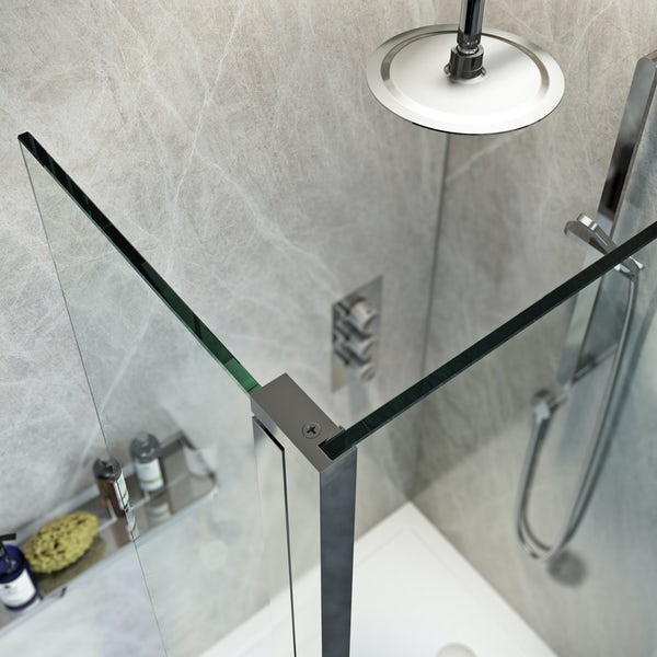 Mode 8mm spacious walk in right handed shower enclosure pack with return panel and walk in right handed tray
