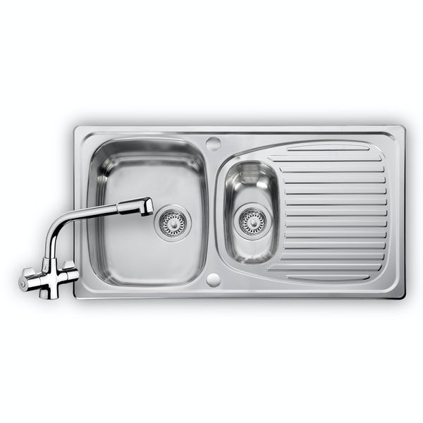 Leisure Euroline 1.0 bowl reversible kitchen sink with kitchen tap