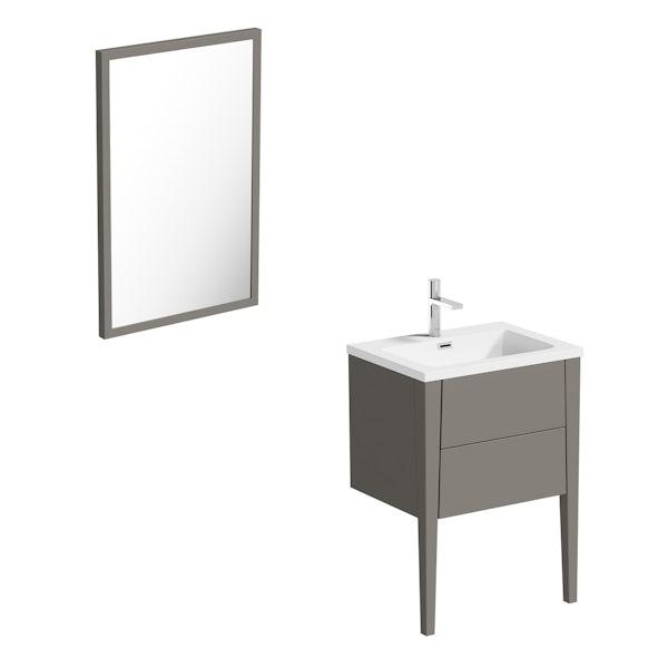 Mode Hale greystone matt vanity unit and basin 600mm with mirror