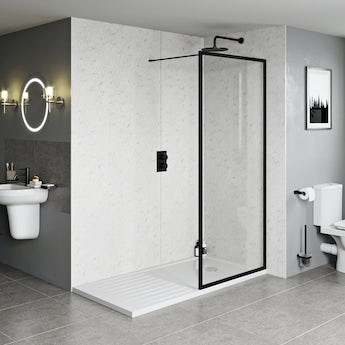 Orchard 6mm black framed wet room glass screen with walk in tray