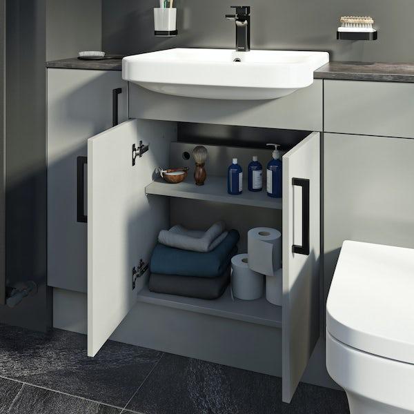 Reeves Wyatt light grey floorstanding vanity unit 870 x 600mm