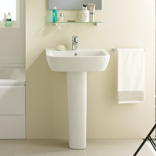 Ideal Standard Tempo 1 tap hole full pedestal basin 550mm