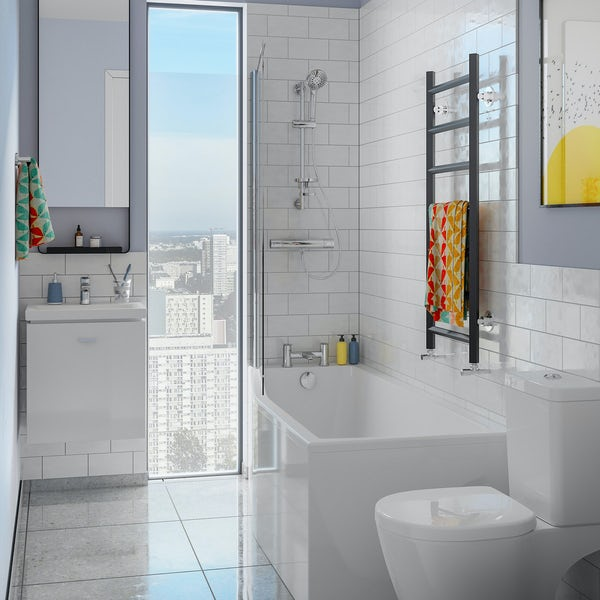 Ideal Standard Concept Space white complete left handed shower bath suite with shower, bath screen, taps, panel and waste 1700 x 700