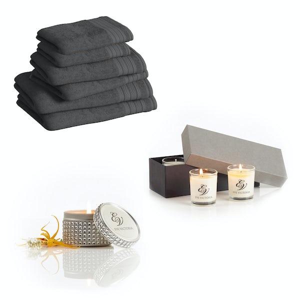 Supreme charcoal towel bale with diamante tin and gift box