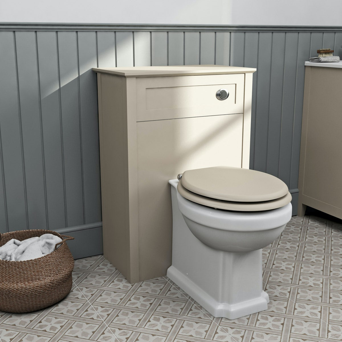 The Bath Co. Camberley satin ivory back to wall unit and traditional toilet with ivory wooden seat