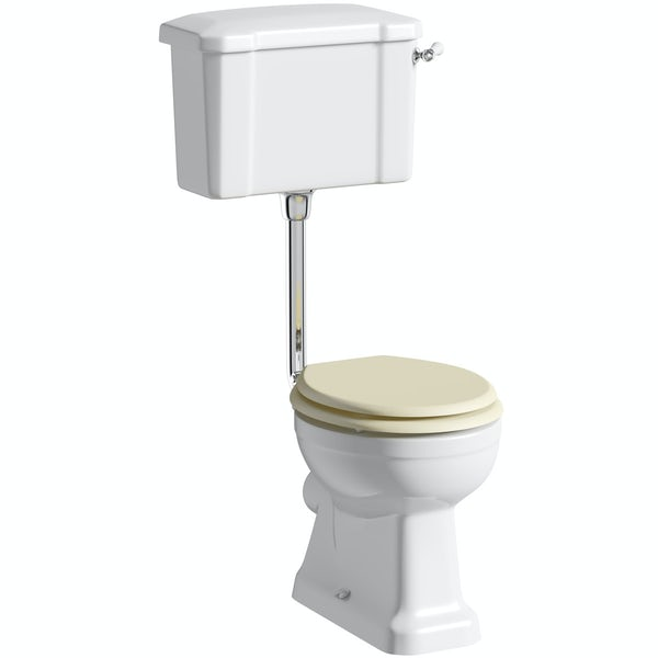 The Bath Co. Camberley low level toilet with ivory soft close seat with pan connector