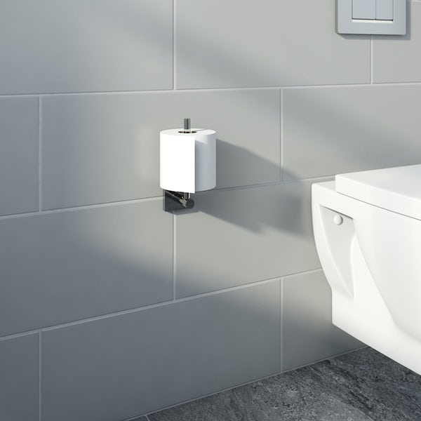 Accents square plate contemporary spare toilet roll holder