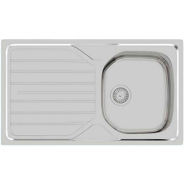 Basix stainless steel 1.0 bowl compact kitchen sink with polished satin inset kitchen tap