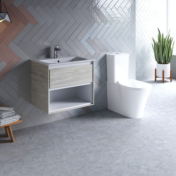 Ideal Standard Concept Air wood light grey open vanity unit with close coupled toilet