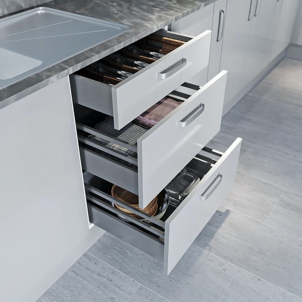 Schon Boston light grey slab 600mm 3 drawer unit