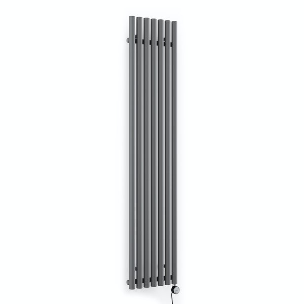 Terma Rolo Room E modern grey electric radiator with MOA Blue element - black