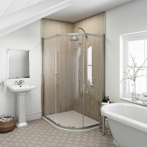 Multipanel Heritage Delano Oak shower wall panel corner installation pack 1200 x 1200