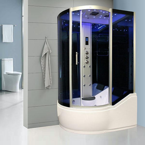 Insignia right handed offset quadrant steam shower bath cabin 1700 x 900